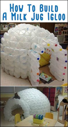 This Igloo Made From Repurposed Milk Jugs Will Keep The Kids Entertained For Hours at a Time Milk Jug Igloo, Milk Jugs, Milk Jug Crafts, Fun Crafts, Crafts For Kids, Atelier Creation, Recycling For Kids, Plastic Milk, Trash To Treasure