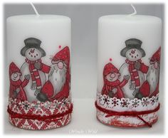 Mozas tarjetas y efectos Christmas Candles, Christmas Crafts, Christmas Ornaments, Best Candles, Pillar Candles, Tree Decorations, Christmas Decorations, Decoupage, Bazaar Ideas