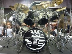 Nicko McBrain's incredible custom Premier Elite kit with different Eddie's on every drum - even the Gong!