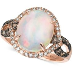 Le Vian Chocolatier Opal (2-1/3 ct. t.w.), Chocolate Diamonds and... ($1,870) ❤ liked on Polyvore featuring jewelry, rings, rose gold, pink gold rings, round diamond ring, opal jewelry, oval cut diamond ring and 14k diamond ring