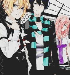 im assuming this is vocaloid cause it looks like Len Kaito and Luka... Kaitos lookin fine!!!!