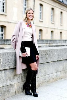 Très Chic! The Best Street Style at Paris Fashion Week  bright statement necklace