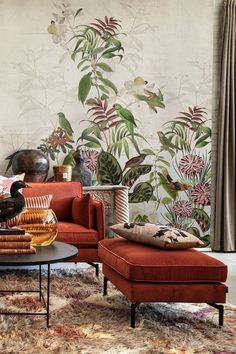 A coral green mural featuring lush tropical leaves and parrots and exotic birds. A unique jungle forest inspired wallpaper like you never seen before. Great wall decor for your lounge, living room, bedroom, or any other space you will like to bring spontaneity, creativity and joy. Grey And Coral, Green And Grey, Other Space, Exotic Birds, Tropical Leaves, Beautiful Wall, Parrots, Wall Wallpaper, Wall Prints