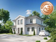 Moderne Stadtvilla mit zwei Erkern SOLERA | DIALUXE Massivhaus Bungalows, Mansions, House Styles, Home Decor, Houses, Modern Houses, Architecture, Decoration Home, Manor Houses