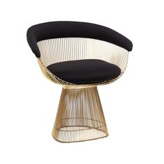 The Platner Dining Chair is a classic mid-century modern design from the 1960s; established as an icon of the Modernist era. The sculptural stainless steel wire frame and backrest elegantly contrast with the padded fabric upholstery to create a comfortable and elegant seating experience. The unique construction of the Platner Dining chair is made with contract grade steel.   http://www.franceandson.com/platner-dining-chair-gold.html