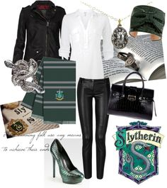 Fashion inspired by the Slytherin House of Harry Potter Mode Harry Potter, Harry Potter Style, Harry Potter Houses, Harry Potter Outfits, Hogwarts Houses, Crop Top Outfits, Cool Outfits, Casual Outfits, Fashion Outfits