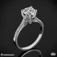 This Diamond Engagement Ring is from the Verragio Couture Collection. It features 0.30ctw of Round Brilliant Diamond Melee (F/G VS) diamond from our extensive online diamond inventory. Please allow 4 weeks for completion. FAV!! platinum