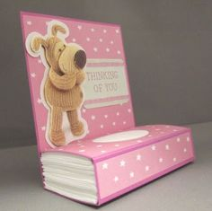 Night Owl Designs: Super Easy Tissue Holder Tutorial; great idea for a get well card