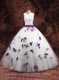 Bohemian Wedding Dress - white and purple wedding dress