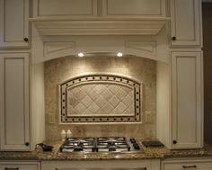 backsplash behind stove w/wood hood vent