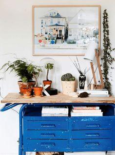 Blue desk drawers