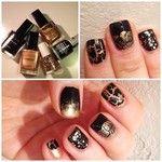 black and gold Avon christmas nail art #FestiveFingertips