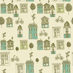 Retro street scene pattern background Free Vector