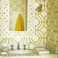 Bamboo 'graphic/grid' wallpaper...would have had a solid framed mirror though