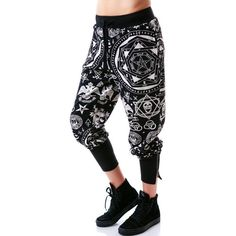 Killstar Occult Sweatpants Jogging Wicca Goth Witchcraft Pants ($75) ❤ liked on Polyvore featuring activewear, activewear pants, sport sweat pants, jogger sweatpants, sports sweatpants, jogger sweat pants and killstar