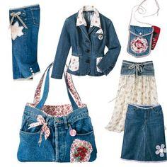 Corsaire, jupes, veste, sac et pochette en jean, liberty et dentelle revisités