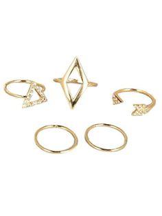 Recortable Rhinestone geométrica del sistema del anillo