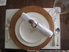 Make Pine Cone Napkin Rings for a Fall Table Setting Tablescape Fall Table Settings, Setting Table, Autumn Decorating, Decorating Ideas, Making Baskets, Pine Needle Baskets, Dinner Themes, Pine Needles, Diy Projects To Try