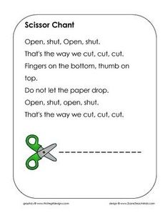 The Scissor Chant is a finger-play that can be used in early childhood and preschool classes. It helps children remember the proper way to hold a scissors. Music education use: have the students learn the chant and have then figure out the rhythms. Kindergarten Songs, Preschool Songs, Preschool Learning, Kids Songs, Kindergarten Classroom, Early Learning, Teaching, Classroom Chants, Preschool Sign In Ideas
