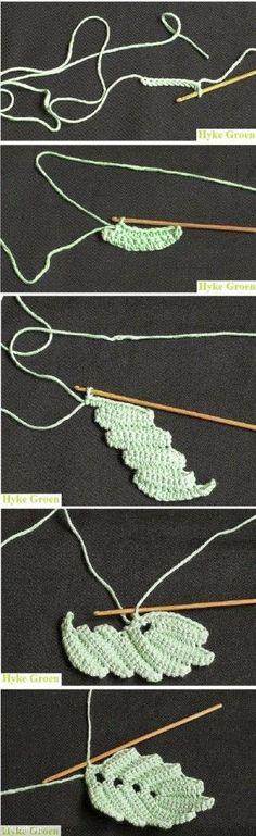 Crochet leaves pattern   yarn bombing   Pinterest   Häkeln, Tabellen ...