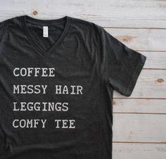 Coffee Shirt Messy Hair Comfy Tee Womens by FishFoodTees