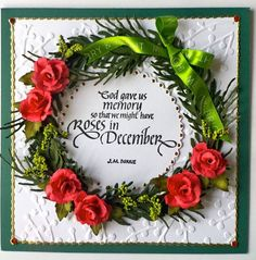 Susan started her card base by embossing our White Soft Finish Cardstock with the Berry Branch embossing folder. Next, she layered on her Garden Notes Evergreen Wreath. She decorated her wreath with more branches from Garden Notes Whitepine Boughs & Pinecone, Garden Notes Rose 2, and a couple more extra branches from Garden Notes Bouquet Stems & Branches, which she covered with Prills in Ribbit from the Flower Pot set. At the center, she stamped a sentiment onto Els's Dotted Scallop Circle.