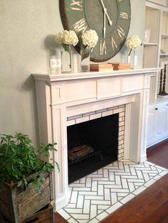 "Love the Herringbone Design - from ""Fixer Upper"" on HGTV (Magnolia Homes) Not doing it as dressy, but I like the herringbone."