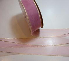Sheer Pink Ribbon, Rose Pink Organza Ribbon 1 1/2 inches wide x 10 yards, Metallic Gold Edge by GriffithGardens on Etsy