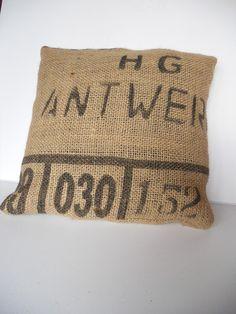Coffee bean sack cushion covers