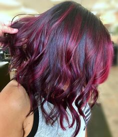 Black Lob With Bright Burgundy Highlights Red Violet Hair, Red Blonde Hair, Red Brown Hair, Hair Color Purple, Blonde Color, Red Purple, Brunette Hair, Color Red, Red Hair With Highlights