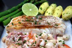 Pescado a la parrilla con salsa de mariscos or grilled ling cod with seafood sauce