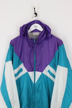 eaf4aaf9cd Adidas Hooded Shell Suit Jacket Purple Green XXL
