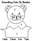February Groundhog Day color by number printable for preschoolers-3-4 year olds
