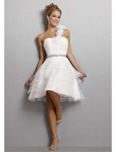 Knielange Mit Blumen Asymmetrisch Ein Schulter Organza Brautkleider 2014