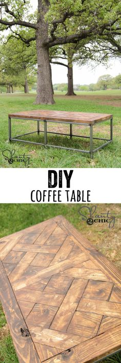 LOVE this coffee table! FREE plans and tutorial with optional wood base too! www.shanty-2-chic.com