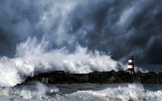 World Lighthouses in storms | sea lighthouse storm waves wallpaper background