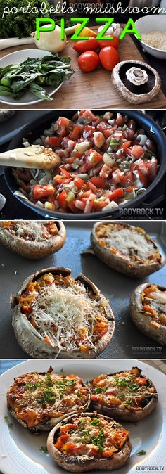 Portobello Mushroom Pizza.Saute: 4 tomatoes, 4 large portobello mushrooms, 4 cloves of garlic, lemon, 1 leek, 1 onion, fresh basil, fresh parsley, olive oil, salt Spray pan, stuff mushrooms, top with cheese, bake @ 400 F for 12 minutes.