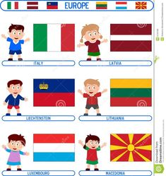 Flags Europe, 9 Mai, 2. Stock, Geography, Children, Kids, Royalty Free Stock Photos, Costumes, Cartoon