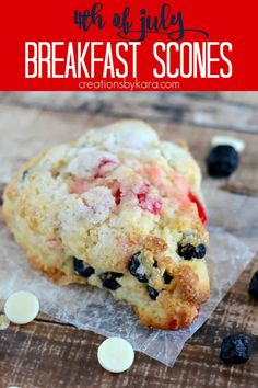 Cherry Berry Scones - with blueberries, maraschino cherries, and white chocolate, these tasty scones are perfect for 4th of July brunch! #july4threcipe #cherryberryscones #cherryblueberryscones #breakfastscones #4thofjulyrecipe -from Creations by Kara Delicious Breakfast Recipes, Yummy Food, Yummy Recipes, Tasty, Breakfast Scones, Breakfast Ideas, Fourth Of July Food, July 4th, Blueberry Scones Recipe