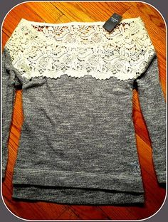 New Abercrombie Fitch Womens Sweater Top Beautiful Lace Crochet Collar