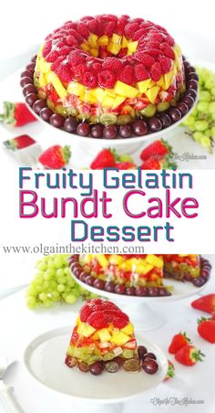 Fruity Gelatin Bundt Cake Dessert: combo of fresh fruits and apple juice brings out rich flavors and beautiful colors. | olgainthekitchen.com