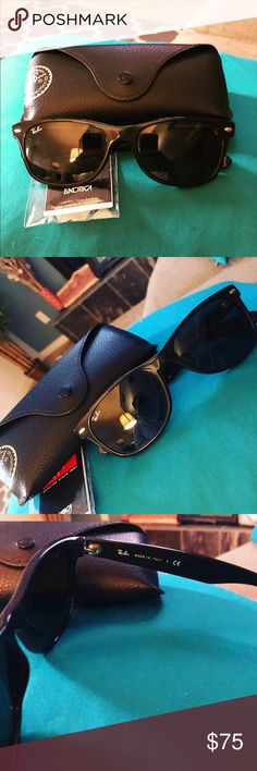 """Ray-Ban Wayfayer AUTHENTIC Ray-Ban """"new wayfayer"""". Purchased directly from Ray Ban. There a few tiny little marks due to NORMAL wear, but nothing noticeable. Comes with original case & cleaning cloth. Ray-Ban Accessories Sunglasses"""