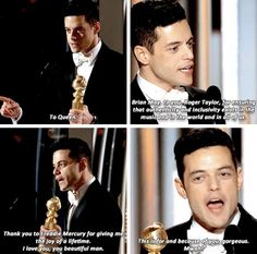 Rami Malek's Best Leading Actor in a Motion Picture Drama Speech at the 2019 Golden Globes. Love the discourse⭐ Freddie Mercury Quotes, Queen Freddie Mercury, Queen Meme, Cinema Tv, Ben Hardy, Rami Malek, Queen Band, Killer Queen, I Am A Queen
