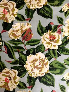 A Dazzling Hollywood Regency Era heavy weight cotton from the 1940s.  A Spectacular floral design featuring large, 7 (18 cm) cream colored Gardenias