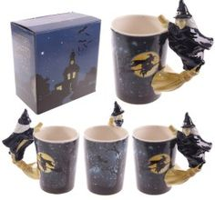 Novelty Witch Mug with Witch on Broomstick Handle