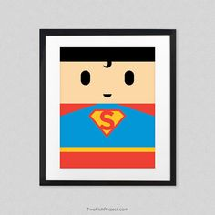 Simple superman art. Would be great for nursery or kid's room. Lots more super heroes to choose from. I love minimalist posters.