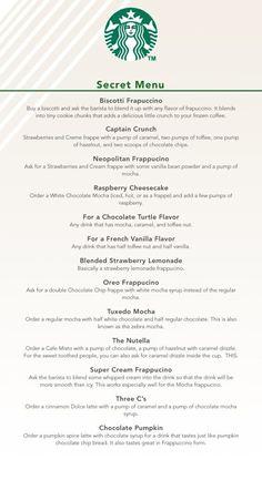 The Secret Menu At Starbucks This changes . The Secret Menu Starbucks Hacks, Secret Starbucks Recipes, Bebidas Do Starbucks, Healthy Starbucks Drinks, Starbucks Secret Menu Drinks, Healthy Drinks, Oreo Starbucks Drink, Starbucks Secret Frappuccino, Starbucks Quotes