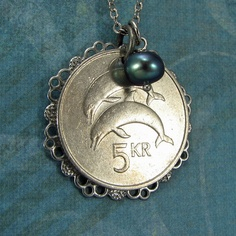 Dolphin necklace  Iceland coin necklace with by AdornmentsNYC