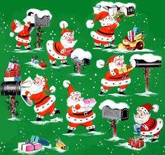 Santa delivering presents/vintage wrapping paper Vintage Christmas Wrapping Paper, Vintage Christmas Images, Retro Christmas, Vintage Holiday, Vintage Images, Old Time Christmas, Old Fashioned Christmas, Christmas Paper, Christmas Glitter