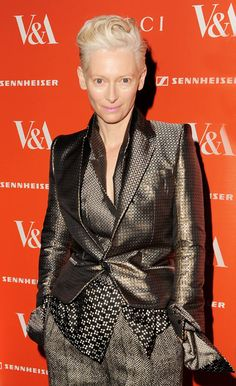 LOVE HER. Tilda Swinton attends the private view for the David Bowie Is exhibition at the Victoria and Albert Museum on March 20, 2013 in London, England.